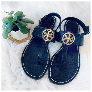 TORY BURCH Leather Sandals blk and gold